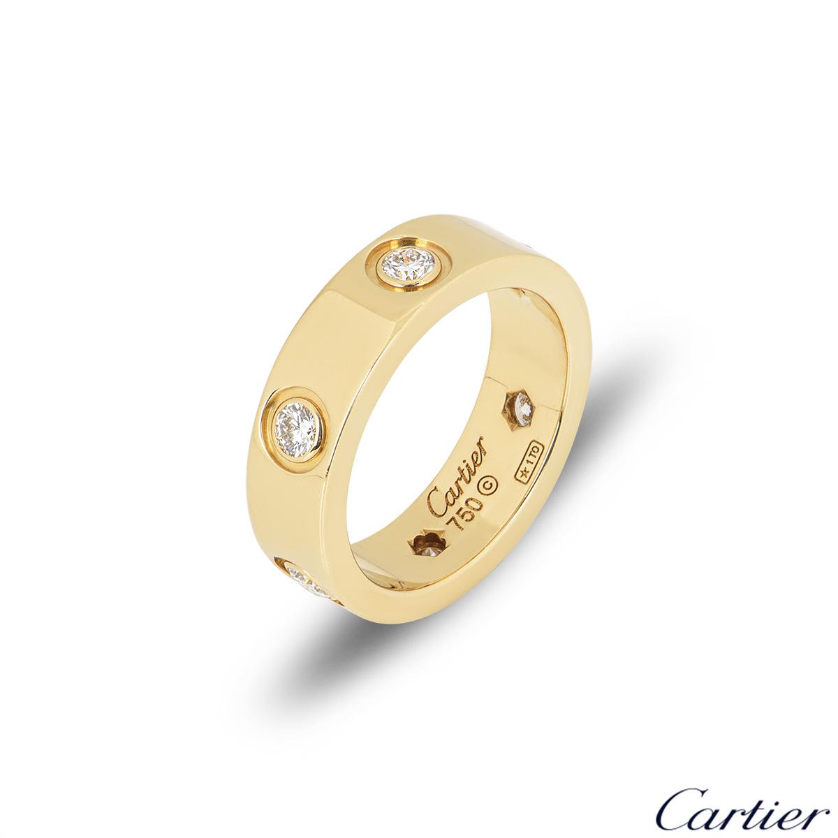 CartierYellow Gold Full Diamond Love Ring Size 52 B4025900